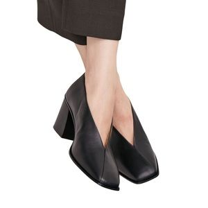 COS Black Leather Structural Block Heels - 40